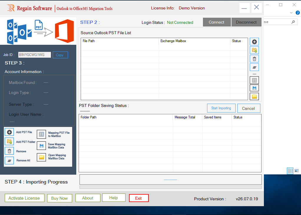 PST to Office 365 Software - Home Screen